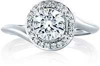 A.Jaffe Twist Pave Halo Diamond Engagement Ring