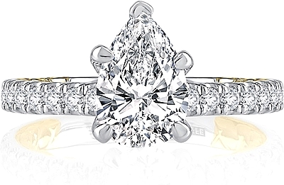 This image shows the setting with a 1.00ct pear cut center diamond. The setting can be ordered to accommodate any shape/size diamond listed in the setting details section below.
