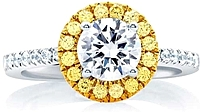 A.Jaffe Yellow & White Halo Diamond Engagement Ring