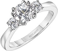 Art Carved 3 Stone Solitaire Diamond Engagement Ring  .33ct tw