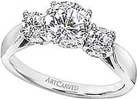 Art Carved 3 Stone Solitaire Diamond Engagement Ring
