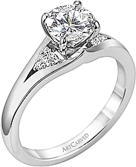 Art Carved Diamond solitaire Engagement Ring