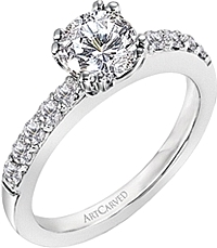 Art Carved Micro-Prong Set Diamond Engagement Ring .37