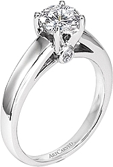 Art Carved Solitaire Engagement Ring w/ a Surprise Diamond .05