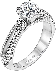 Art Carved Split Shank Pave Diamond Engagement Ring