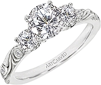 Art Carved Three Stone Diamond Engagement Ring W/ Floral Carving .37ct tw