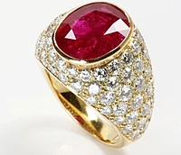 Assael 18k Yellow Gold Diamond & Ruby Ring