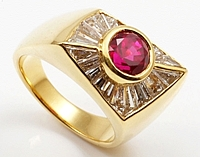 Assael 20k Yellow Gold Baguette Diamond & Ruby Ring