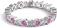 Bezel Set Round Pink Sapphire & Diamond Eternity Ring
