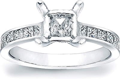 Channel Set Princess Cut Diamond Engagement Ring W Pave Basket Scs1163