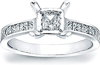 Channel-Set Princess Cut Diamond Engagement Ring w/ Pave Basket