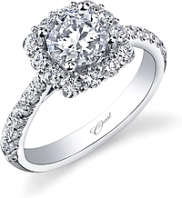 Coast Diamond Cushion Halo Diamond Engagement Ring