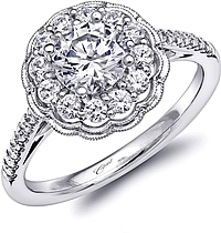Coast Floral Halo Diamond Engagement Ring