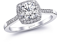 Coast Pave Halo Diamond Engagement Ring