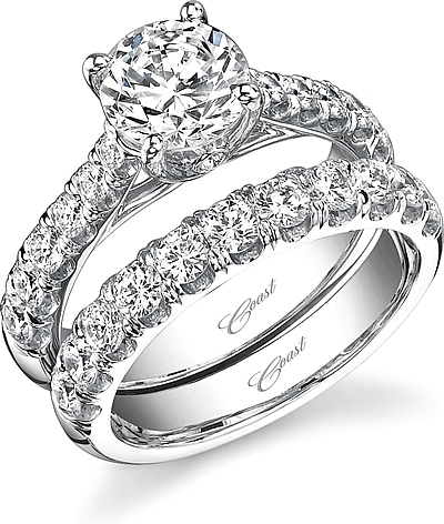 This image shows the setting with a 1.25ct round brilliant cut center diamond. The setting can be ordered to accommodate any shape/size diamond listed in the setting details section below. Wedding band sold separately.