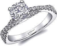 Coast Twist Shank Halo Diamond Engagement Ring