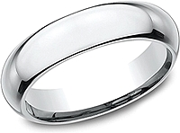 Comfort Fit High Dome Wedding Band-5mm