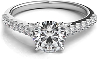 Common Prong Round Brilliant Cathedral Diamond Engagement Ring