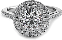 Double Row Round Halo Diamond Engagement Ring