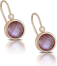 Doves Amethyst & Diamond Earrings