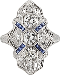 Estate 14k White Gold Diamond & Filigree Ring