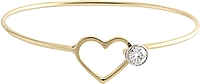 Estate 14k Yellow Gold Diamond Heart Cuff Bracelet