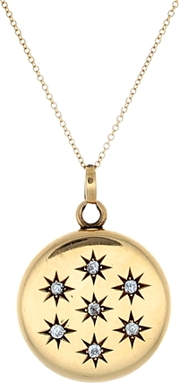 Estate 14k Yellow Gold Diamond Locket