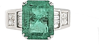 Estate 18k White Gold Diamond & Emerald Ring