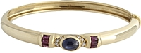 Estate 18k Yellow Gold Diamond, Ruby & Sapphire Bangle Bracelet