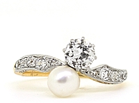 Estate Platinum/18k Yellow Gold Diamond & Pearl Ring