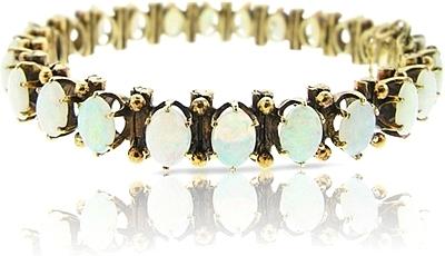 Estate Yellow Gold Opal Bracelet