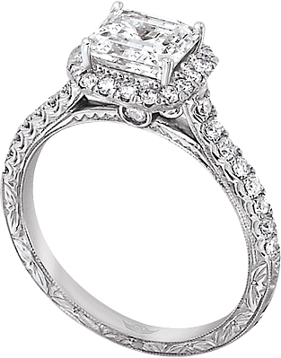 This image shows the setting with a 1.00ct princess cut center diamond. The setting can be ordered to accommodate any shape/size diamond listed in the setting details section below. The matching wedding band is sold separately.