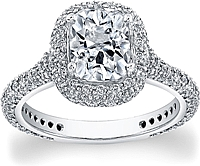 FlyerFit Micro-Pave Diamond Halo Engagement Ring