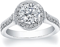 FlyerFit Pave Diamond Halo Engagement Ring