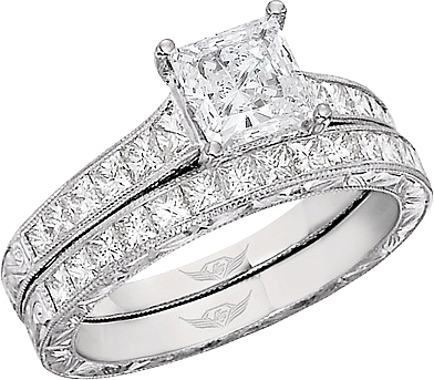 4fd548fbd7c89 This image shows the setting with a 1.00ct princess cut center diamond. The  setting