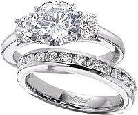 FlyerFit Round Brilliant Three Stone Diamond Engagement Ring