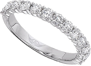 FlyerFit Shared Prong Round Brilliant Diamond Wedding Band 5139SWB