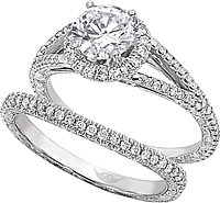 FlyerFit Split Shank Micro-Pave Diamond Engagement Ring