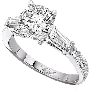 This image shows the setting with a 1.00ct round brilliant cut center diamond. The setting can be ordered to accommodate any shape/size diamond listed in the setting details section below. The matching wedding band is sold separately.