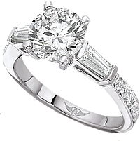 Flyerfit Tapered Baguette & Pave Diamond Engagement Ring