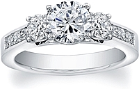 FlyerFit Three Stone Channel Set Diamond Engagement Ring