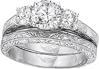 FlyerFit Three Stone Hand Engraved Engagement Ring