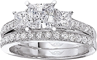 FlyerFit Three Stone Princess Cut & Pave Engagement Ring