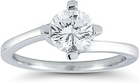 Four Prong Twist Solitaire Engagement Ring