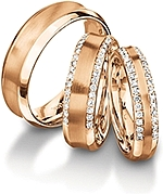 Shown here 18k rose gold in 7.0mm, 6.00mm with diamonds, and 4.5mm wide with diamonds; Each sold separately.