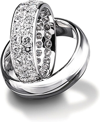 Shown here in 18K white gold with and without diamonds; Each sold separately.