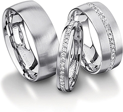 Shown here in 18k white gold in 7.0mm without diamonds, 3.5mm with diamonds, and 7.0mm with diamonds. Each sold separately.