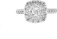 Henri Daussi 1.00ct GIA I/SI2 Cushion Cut Diamond Engagement Ring