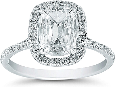 Henri Daussi 1 16ct Cushion Cut Diamond Ring With Halo And Pave