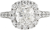 Henri Daussi 1.50ct Cushion GIA G/I1 Diamond Engagement Ring